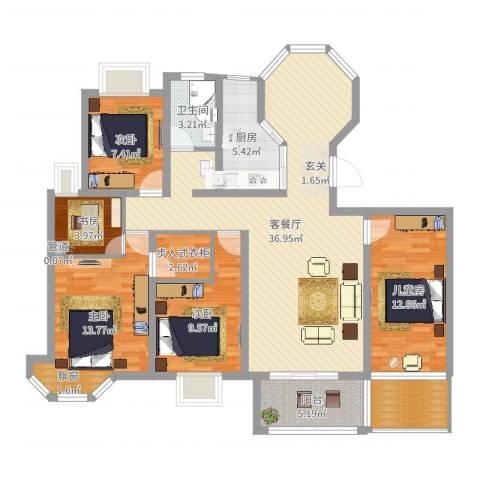 水榭花城5室2厅1卫1厨131.00㎡户型图