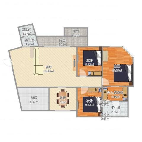 加城花园3室4厅2卫1厨132.00㎡户型图