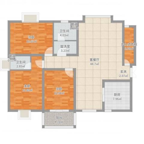 阳光・城市花园3室4厅2卫1厨144.00㎡户型图