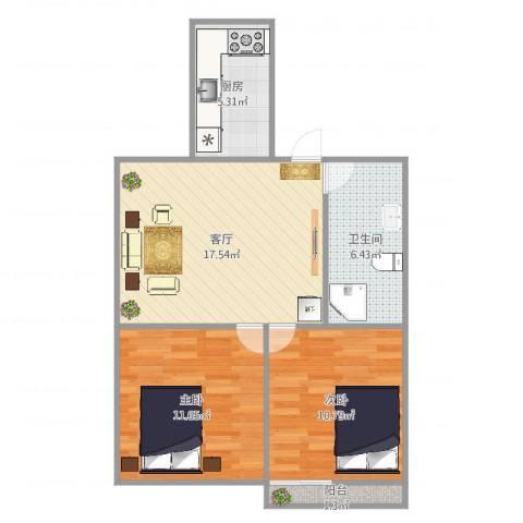 三庆枫润山居2室1厅1卫1厨66.00㎡户型图