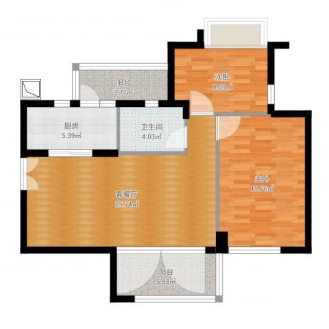 奕翠园卡乐里2室2厅1卫1厨86.00㎡户型图