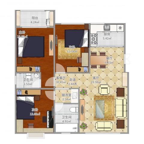岱岳清华苑3室4厅2卫1厨118.00㎡户型图