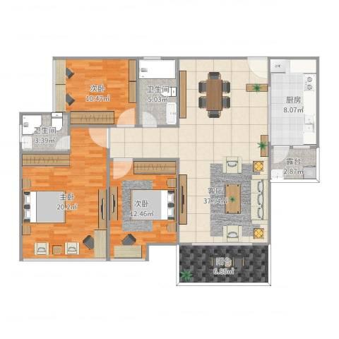 坚胜尚城雅苑3室1厅2卫1厨134.00㎡户型图