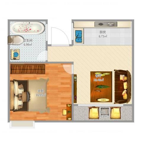 书院1号公寓1室1厅1卫1厨67.00㎡户型图