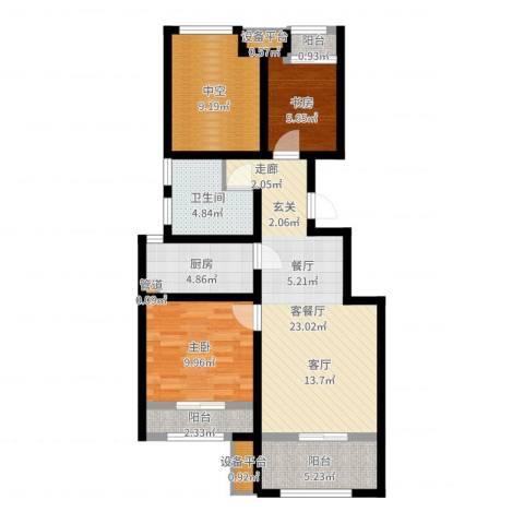 创想凯旋湾2室2厅1卫1厨84.00㎡户型图