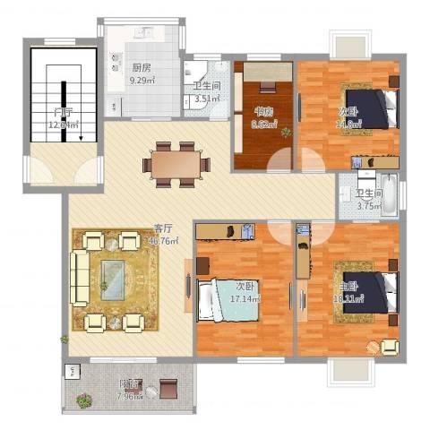 华泰剑桥4室1厅2卫1厨195.00㎡户型图