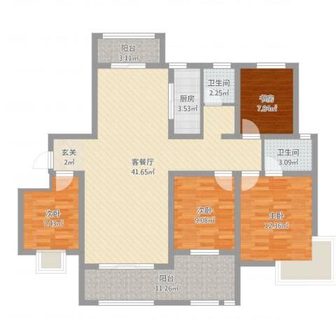 帝都・东城国际4室2厅2卫1厨100.80㎡户型图