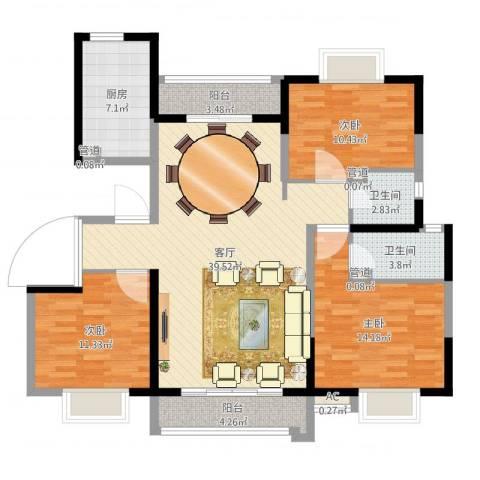文博苑3室1厅4卫3厨122.00㎡户型图