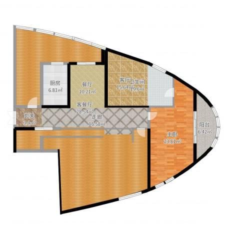 道生中心1室2厅1卫1厨194.00㎡户型图