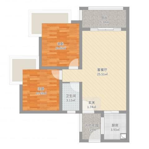 东方丽都2室2厅1卫1厨78.00㎡户型图