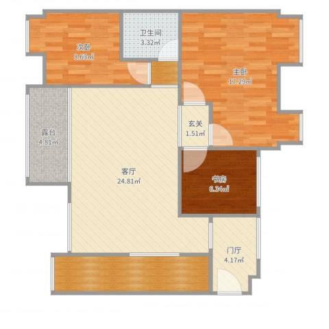 欧鹏天境20栋3室1厅1卫1厨99.00㎡户型图