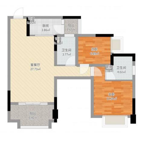 保利拉菲2室2厅2卫1厨83.00㎡户型图