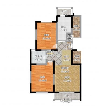 金苹果花园2室2厅1卫1厨97.00㎡户型图