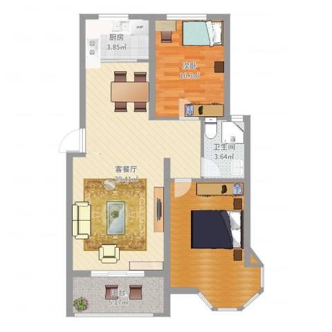 天地名都1室2厅2卫1厨83.00㎡户型图