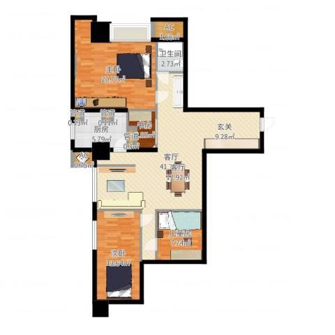 世家名门4室1厅1卫1厨98.21㎡户型图