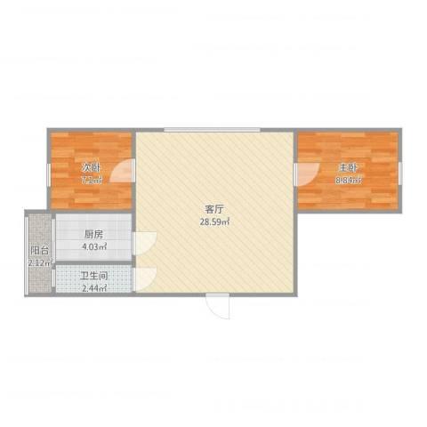 瑞通里2室1厅1卫1厨66.00㎡户型图