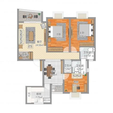 康健丽都3室2厅3卫1厨124.00㎡户型图