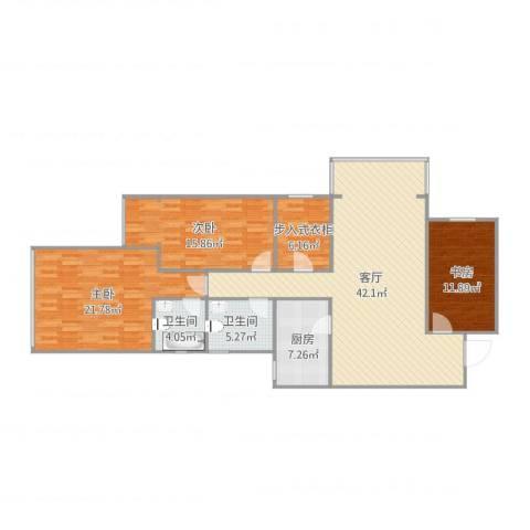 明日家园3室1厅2卫1厨143.00㎡户型图