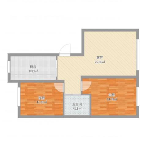 晨光花园小区2室1厅1卫1厨96.00㎡户型图