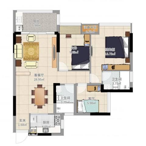 惠州半山名苑1室3厅2卫1厨96.00㎡户型图