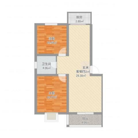 蓝溪花园2室2厅1卫1厨79.00㎡户型图