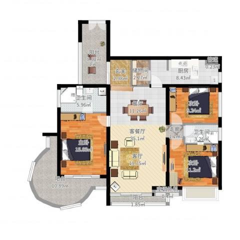 曲江南苑3室2厅2卫1厨140.00㎡户型图