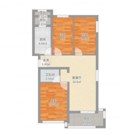 水荫路军区大院3室2厅1卫1厨77.00㎡户型图