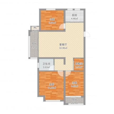 当代国际广场3室2厅1卫1厨105.00㎡户型图