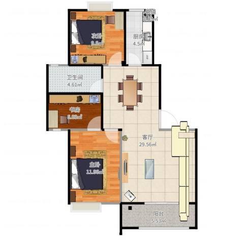 甫澄熙岸3室1厅1卫1厨90.00㎡户型图