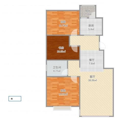 天安第一城3室1厅1卫1厨86.83㎡户型图