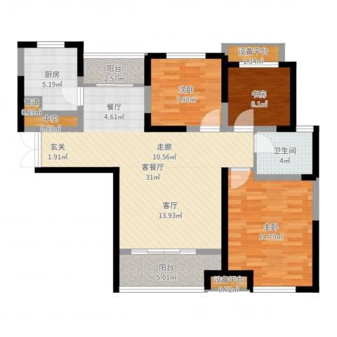 财信圣堤亚纳3室2厅1卫1厨100.00㎡户型图