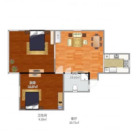 共和三村2室1厅1卫1厨80.00㎡户型图