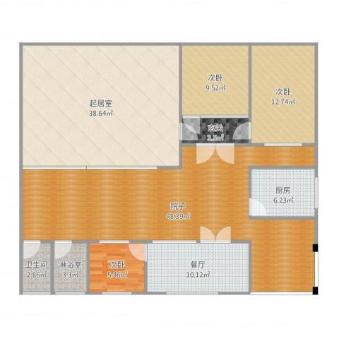 潮白河农家院3室1厅1卫1厨176.00㎡户型图
