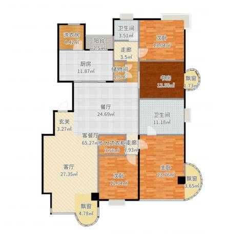 大上海国际花园三期4室2厅2卫1厨208.00㎡户型图