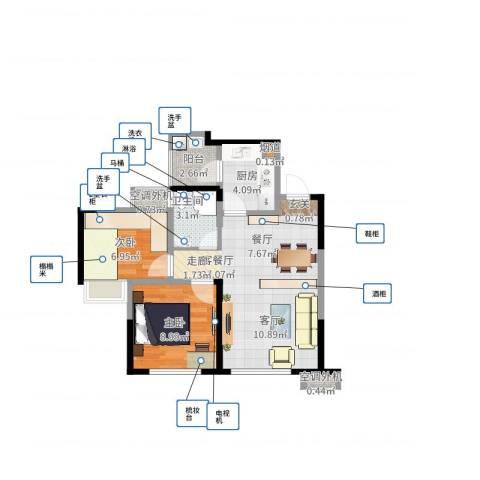 蓝光COCO蜜城2室2厅1卫1厨69.00㎡户型图