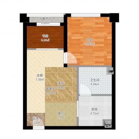 清流水韵2室2厅1卫1厨54.00㎡户型图