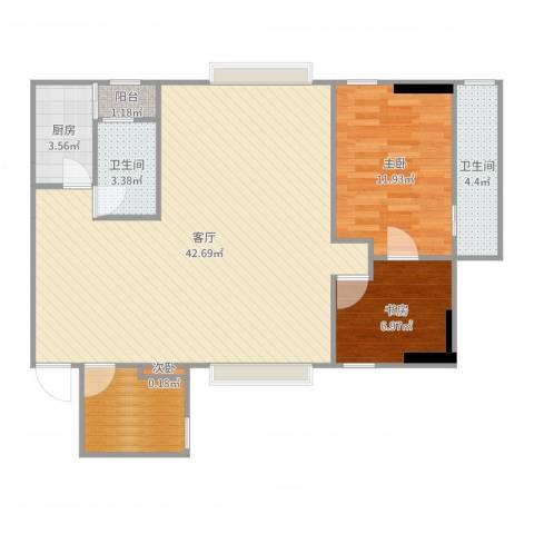 加勒比湾3室1厅2卫1厨99.00㎡户型图