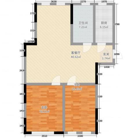 竹韵花园2室2厅1卫1厨118.00㎡户型图