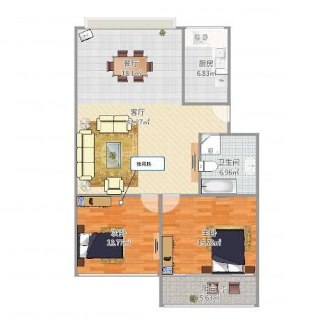 辛甸花园2室1厅1卫1厨114.00㎡户型图