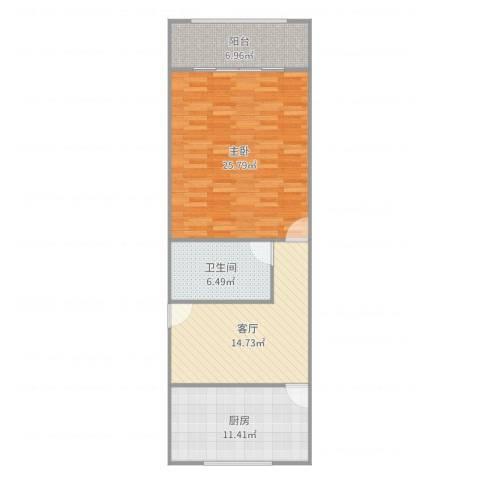 乐业一村1室1厅1卫1厨82.00㎡户型图
