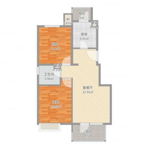 金色漫香林别墅2室2厅1卫1厨78.00㎡户型图