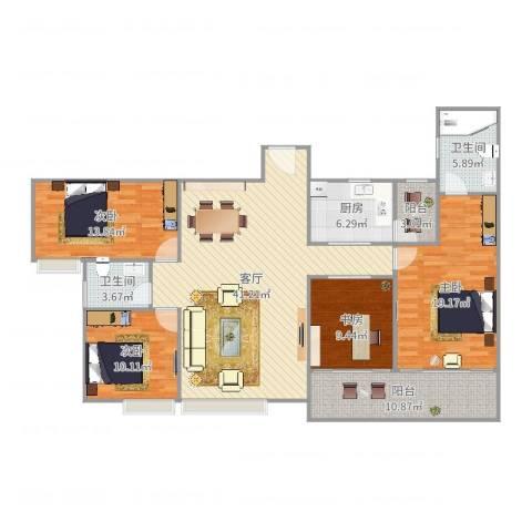 华南名宇4室1厅2卫1厨154.00㎡户型图