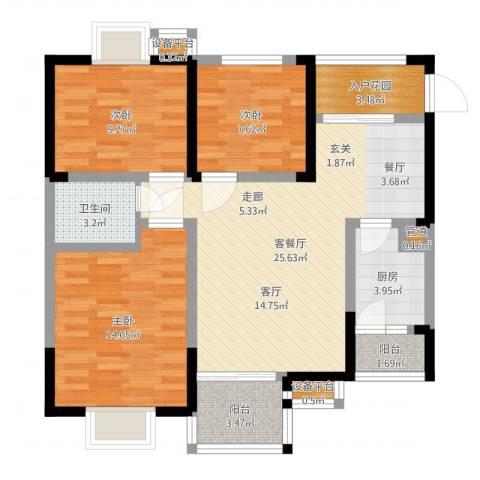 维多利亚别墅3室2厅1卫1厨92.00㎡户型图