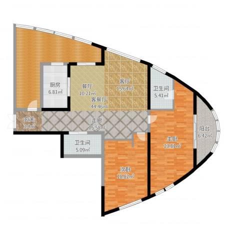 道生中心2室2厅2卫1厨166.00㎡户型图