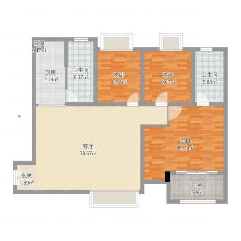 华润凤凰城三期3室1厅3卫1厨127.00㎡户型图