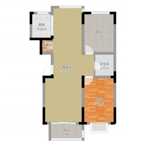 棠棣1室2厅1卫1厨92.00㎡户型图