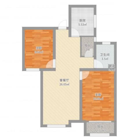 天鹅湖1号2室2厅1卫1厨79.00㎡户型图