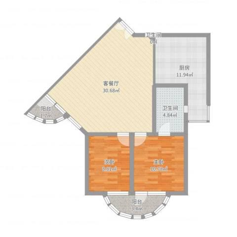 华佳花园2室2厅2卫1厨90.00㎡户型图