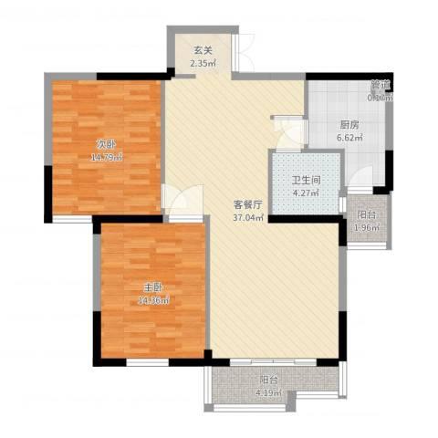 天鹅湖畔2室2厅1卫1厨104.00㎡户型图
