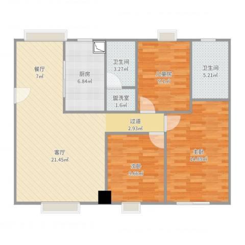 逸骏华庭3室2厅2卫1厨102.00㎡户型图